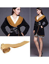 Fashion Khaki Pure Color Swallow Tail Shape Design  Leather Wide belts