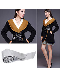 Fashion Gray Pure Color Swallow Tail Shape Design  Leather Wide belts