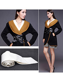 Fashion White Pure Color Swallow Tail Shape Design  Leather Wide belts