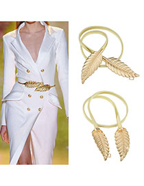 Retro Gold Color Leaf Shape Decorated Pure Color Design Alloy Thin belts