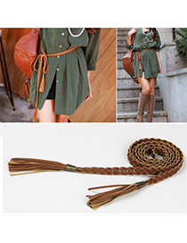 Retro Brwon Rope Weave Pure Color Taseel Design  Alloy Thin belts