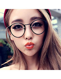 Pretty Black Oval Shape Frame Decorated Thin Leg Design Plastic Fashon Glasses