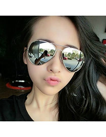 Fashion Silver Color Panda Eyes Shape Frame Decorated Simple Design
