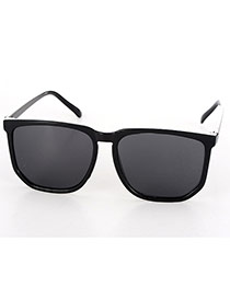 Fashion Black Square Frame Decorated Thin Leg Design Plastic Women Sunglasses