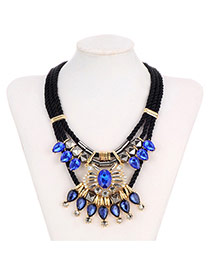 Retro Sapphire Blue Waterdrop Shape Diamond Decorated Multilayer Design