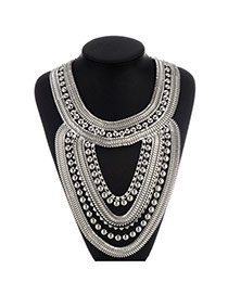 Fashion Silver Color Beads Decorated Multilayer Design