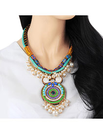 Fashion Multicolor Round Pendant Decorated Double Layer Design