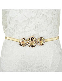 Fashion Gold Color Rose Shape Decorated Simple Design  Alloy Thin belts
