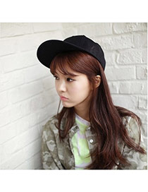 Fashion Black Pure Color Simple Design  Canvas Baseball Caps