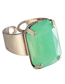 Personality Green Square Gemstone Decorated Opening Design Alloy Korean Rings
