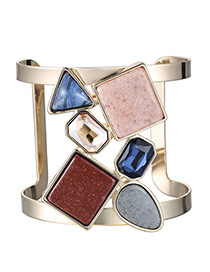 Personality Multicolor Geometry Gemstone Decorated Opening Design Alloy Fashion Bangles