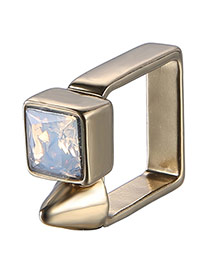 Personality Gold Color+pink Diamond Decorated Square Shape Design Alloy Fashion Rings