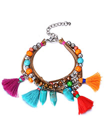 Personality Multicolor Tassel Decorated Multilayer Design Acrylic Fashion Bracelets
