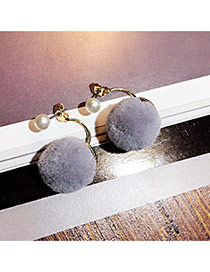 Sweet Gray Plush Ball Decorated Simple Design  Alloy Stud Earrings