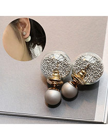 Sweet Silver Color Small Beads Decorated Simple Design Alloy Stud Earrings