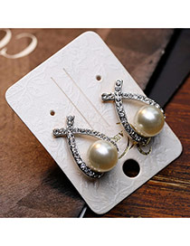 Trendy Silver Color Pearl Decorated Bowknot Shape Design
