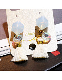 Trendy White Geometry Shape Decorated Tassel Design