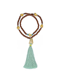 Fashion Green Tassel Pendant Decorated Beads Chain Design Wooden Beaded Necklaces