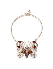 Personality Coffee Insect Shape Pendant Decorated Simple Desing Alloy Bib Necklaces