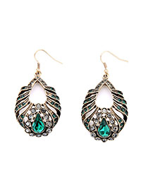 Vintage Gold Color+green Waterdrop Shape Diamond Decorated Hollow Out Design