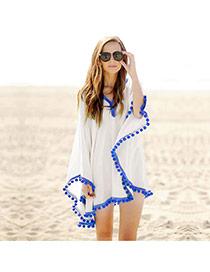 Sexy White Ball Decorated V-neck Loose Design Bikini Cover Up Smock