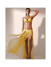 Sexy Yellow Pure Color Simple Design Sarong Skirt(Without Bikini)
