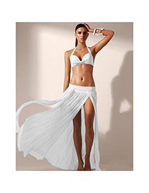 Sexy White Pure Color Simple Design Sarong Skirt(Without Bikini)