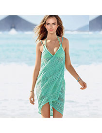 Sexy Green Flower Pattern Hollow Out V-neck Design Bikini Cover Up Smock