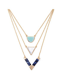 Trendy Gold Color Triangle Pendant Decorated Multilayer Design Alloy