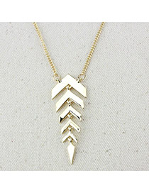 Trendy Gold Color Fish Bone Pendant Decorated Simple Design Alloy