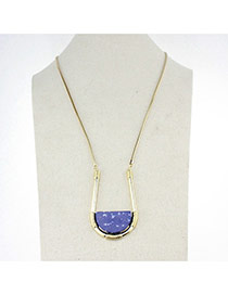 Trendy Blue U Shape Pendant Decorated Simple Design Alloy Bib Necklaces