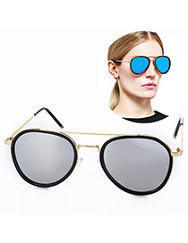 Fashion Silver+gold Color Oval Shape Frame Simple Design Plastic Women Sunglasses