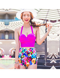 Trendy Plum Red+multilcolor Flower Pattern Decorated High Waist Design  Polyester Sexy Bikini