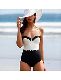 Trendy White+black Color Matching One-piece Design  Polyester Monokini