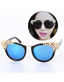 Retro Black+blue Diamond&leaf Decorated Simple Design Plastic Women Sunglasses