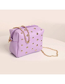 Fashion Purple Pure Color Rivet Decorated Mini Deisng