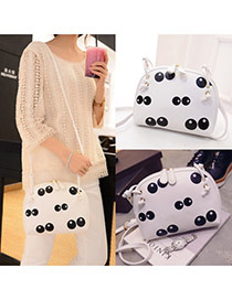 Cute White Panda Eye Pattern Decorated Shell Shape Design
