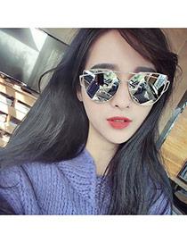 Fashion Silver Color Metal Frame Decorated Geometric Shape Design Plastic Women Sunglasses