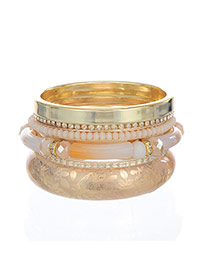 Vintage Gold Color Long Beads&diamond Decorated Multilayer Design  Alloy Fashion Bangles