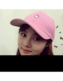 Fashion Pink Peach Embroidered Pattern Decorated Pure Color Design  Canvas Baseball Caps