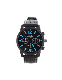 Fashion Blue Pure Color Decorated Noctilucence Waterproof Design Silica Gel Ladies Watches
