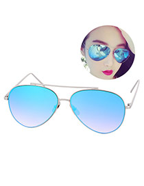 Fashion Blue Metal Decorated Reflective Film Simple Design Resin