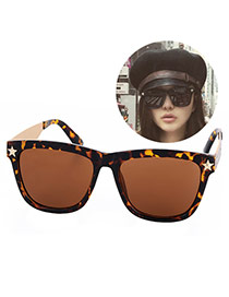 Personality Leopard Star Decorated Square Shape Frame Design Resin Women Sunglasses