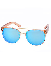 Fashion Blue+tawny Metal Decorated Reflective Film Simple Design