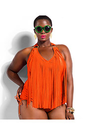 Sexy Orange Pure Color Tassel Decorated Connection Design Dacron Monokini
