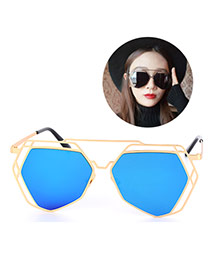 Fashion Blue Geometry Shape Frame Decorated Hollow Out Design Alloy Women Sunglasses