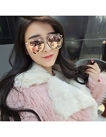 Fashion Yellow Geometry Shape Frame Decorated Hollow Out Design Alloy Women Sunglasses