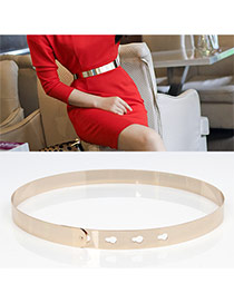 Fashion Gold Color Pure Color Shiny Simple Design  Alloy Wide belts