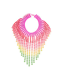 Retro Multicolor Beads Decorated Tassel Multilayer Design