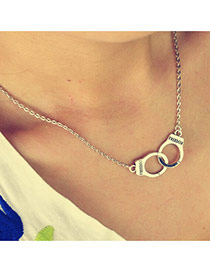 Personality Silver Color Handcuffs Pendant Decorated Simple Design Alloy Chains